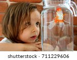 Stock photo little girl looking at a goldfish in a glass jar against a brick wall 711229606