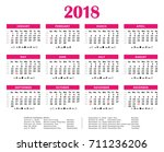 2018 pink yearly vector... | Shutterstock .eps vector #711236206