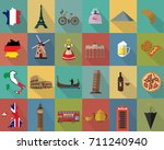 vintage flat design icon set... | Shutterstock .eps vector #711240940