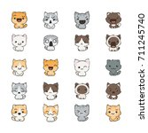 cute cartoon cats and dogs with ... | Shutterstock .eps vector #711245740