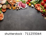 an assortment of healthy ... | Shutterstock . vector #711255064