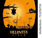 halloween field | Shutterstock .eps vector #711256714