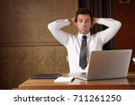 stressed businessman put hands... | Shutterstock . vector #711261250