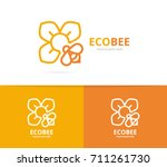 vector of flower and bee logo...