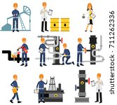 oil industry set  extraction ... | Shutterstock .eps vector #711262336