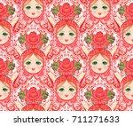 babushka  matryoshka  seamless... | Shutterstock .eps vector #711271633