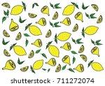 pattern hand draw yellow green... | Shutterstock .eps vector #711272074