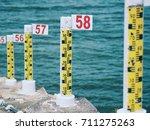water level staff gauge ... | Shutterstock . vector #711275263