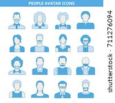 people avatar icons set blue... | Shutterstock .eps vector #711276094