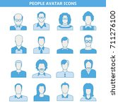 people avatar icons set blue... | Shutterstock .eps vector #711276100