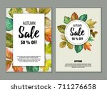 autumn sale banners with... | Shutterstock .eps vector #711276658