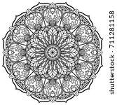 round black and white mandala | Shutterstock .eps vector #711281158