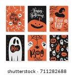 set of halloween greeting card...   Shutterstock .eps vector #711282688
