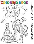 coloring book christmas giraffe ... | Shutterstock .eps vector #711283984