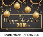 happy new year 2018 gold and... | Shutterstock .eps vector #711289618