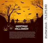 halloween poster with cemetery... | Shutterstock .eps vector #711291340