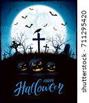 halloween background with... | Shutterstock . vector #711295420