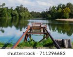 lake on which the remnants of... | Shutterstock . vector #711296683