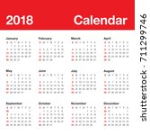 year 2018 calendar vector... | Shutterstock .eps vector #711299746