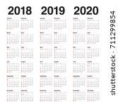 year 2018 2019 2020 calendar... | Shutterstock .eps vector #711299854