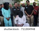 Small photo of KARACHI, PAKISTAN - SEP 07: DIGP / CIA give briefing to media persons about detention of criminals alleged in abduction of Masood Firoz for ransom money, on September 07, 2017 in Karachi.