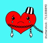 vector drawing of a chained... | Shutterstock .eps vector #711308890