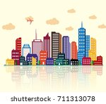colorful building and city... | Shutterstock . vector #711313078