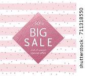 sale fall pink gold banner .... | Shutterstock .eps vector #711318550