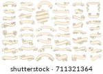 set of vintage scrolls ribbons... | Shutterstock .eps vector #711321364