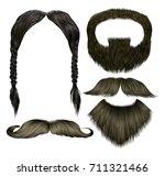 set vector mustache different... | Shutterstock .eps vector #711321466
