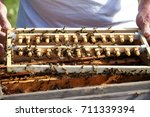 beekeeper takes care of  bees. | Shutterstock . vector #711339394