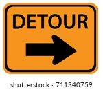 detour right road sign | Shutterstock .eps vector #711340759
