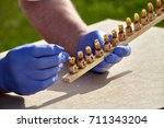 working process on a bee apiary ... | Shutterstock . vector #711343204