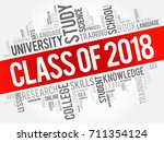 class of 2018 word cloud... | Shutterstock .eps vector #711354124