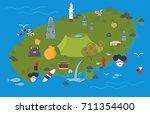 vector illustration of jeju... | Shutterstock .eps vector #711354400