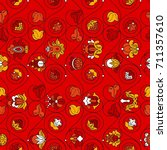 fine vintage floral vector... | Shutterstock .eps vector #711357610