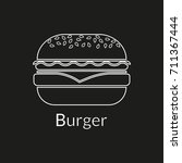 burger line icon. outline... | Shutterstock . vector #711367444
