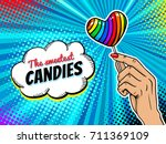 pop art background with female... | Shutterstock .eps vector #711369109