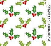 christmas holly berries... | Shutterstock .eps vector #711369880