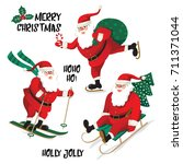 santa clause going to... | Shutterstock .eps vector #711371044