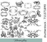 calligraphic vector vintage... | Shutterstock .eps vector #711371890