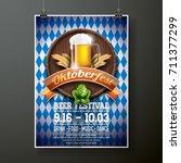 oktoberfest poster vector... | Shutterstock .eps vector #711377299