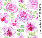 seamless floral pattern with... | Shutterstock . vector #711378979
