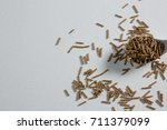 cereal bran stick in spoon on... | Shutterstock . vector #711379099