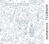 white halloween vector seamless ... | Shutterstock .eps vector #711383650