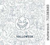 white halloween vector seamless ... | Shutterstock .eps vector #711383683