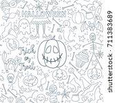 white halloween vector seamless ... | Shutterstock .eps vector #711383689