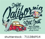 cute california surfer pickup... | Shutterstock .eps vector #711386914