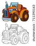 cartoon farm tractor   isolated ... | Shutterstock . vector #711390163