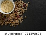 bowl of corn bran with cereal... | Shutterstock . vector #711390676